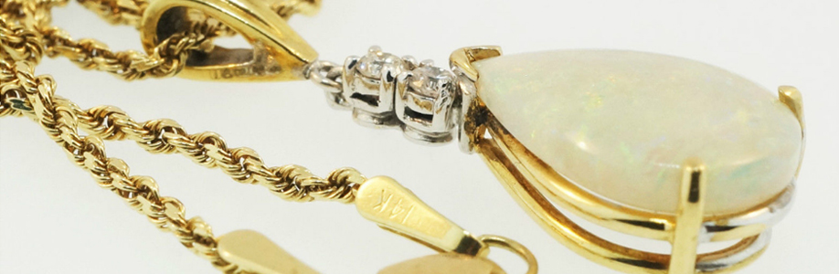 18Carat Yellow Gold Natural Opal & Diamond Gold Rope Chain