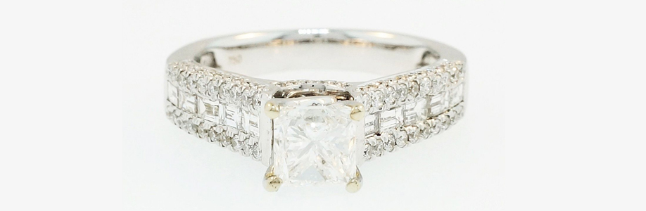 18ct White Gold Princess Diamond Solitaire with Accents Ring