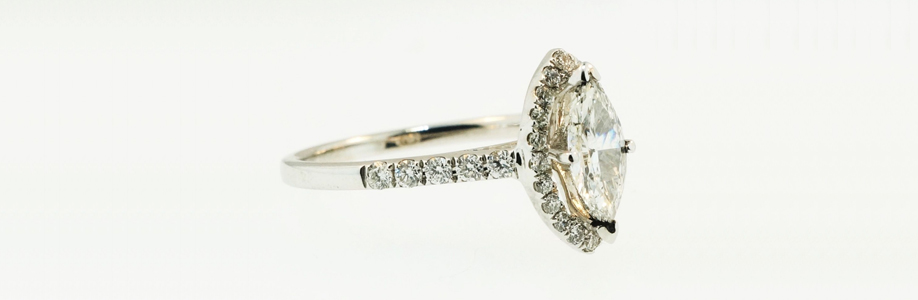 8Ct White Gold Marquise Cut Diamond Solitaire and Accents