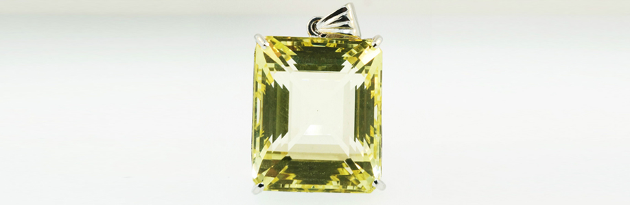 Sterling Silver Fancy Emerald Cut Lemon Topaz Pendant