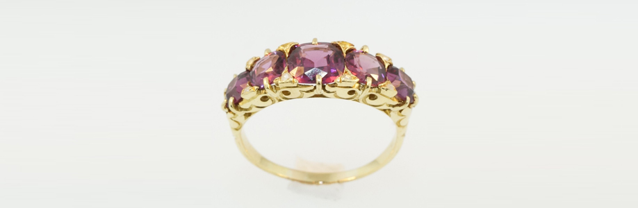Antique 18Carat Yellow Gold Cushion Cut Garnet Eternity Ring