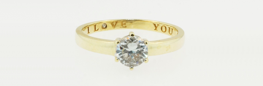 9ct Yellow Gold Simulated Diamond Solitaire Ring