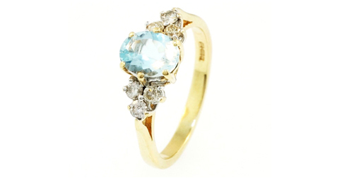 9Ct Yellow Gold 1.20ct Aquamarine & Diamond Solitaire Ring