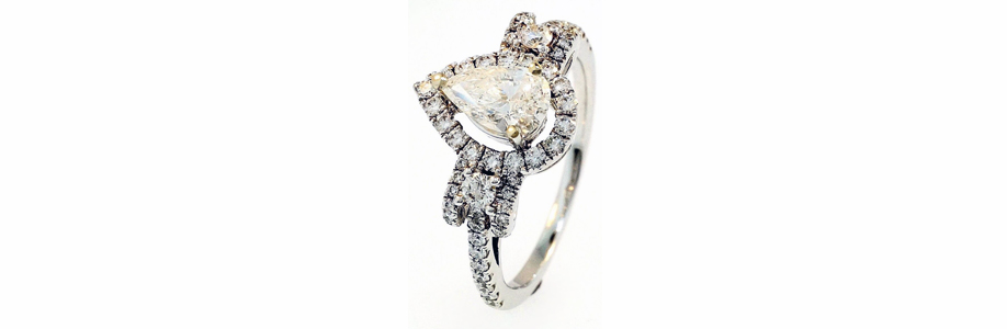 White Gold Pear Diamond Engagement Ring