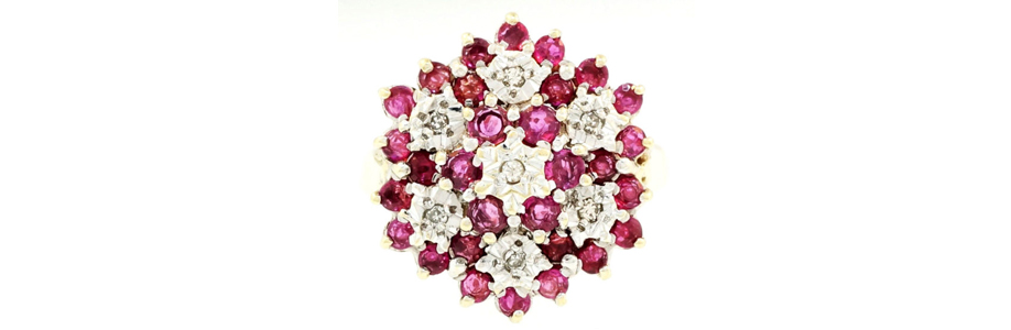 9Carat Yellow Gold Ruby & Diamond Cluster Ring