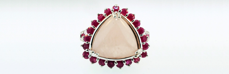 9ct White Gold Ruby & Rose Quartz Cluster Ring