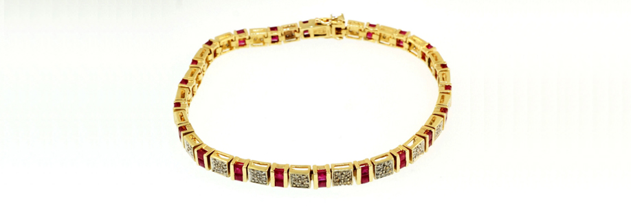 "9Ct Yellow Gold 7"" Princess Ruby & Diamond Tennis Bracelet"