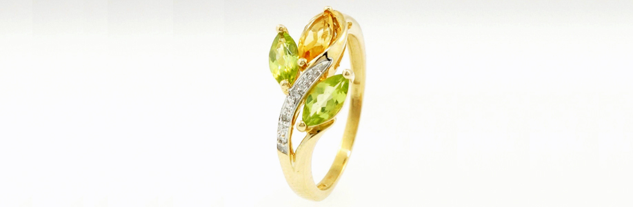 9Carat Yellow Gold Marquise Peridot,Citrine & Diamond Cluster Ring