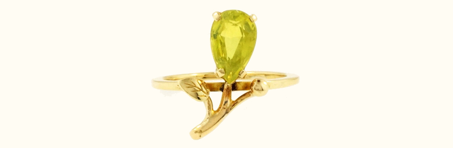 9carat Yellow Gold Pear Peridot Ring