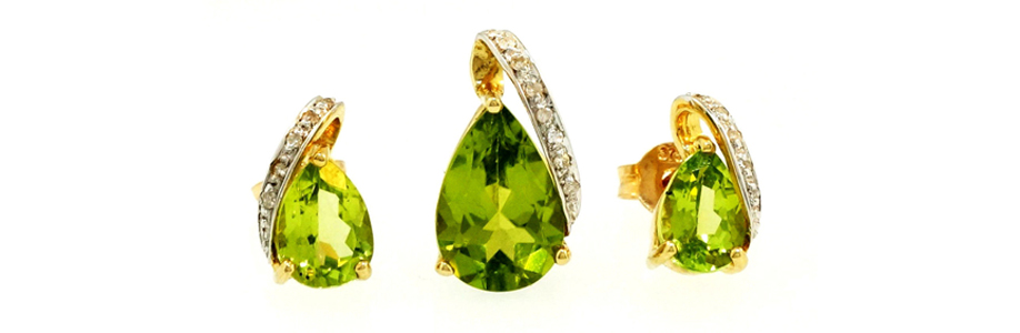 9carat Yellow Gold Peridot & Diamond Pendant and Earring Set