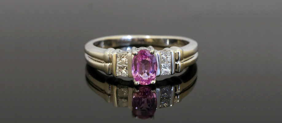 9ct White Gold Oval Pink Sapphire and Princess Cut Diamond Ring