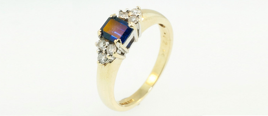9Ct Yellow Gold Emerald Cut Sapphire and Diamond Ring