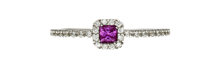 18ct White Gold Princess Pink Sapphire Solitaire With Diamond Accents Ring