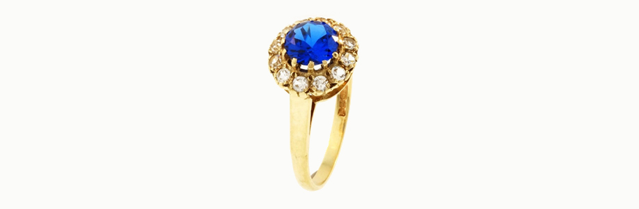 Vintage 9Ct Yellow Gold Simulated Sapphire/Diamond Cluster Ring