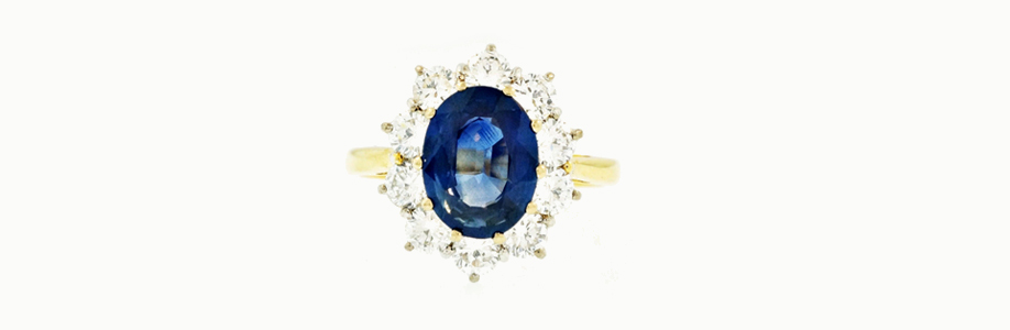 18Carat Yellow Gold Sapphire & Diamond Halo Cluster