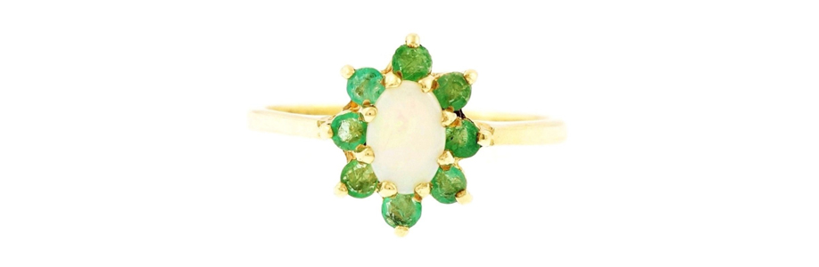 9Carat Yellow Gold Opal and Emerald Cluster Ring