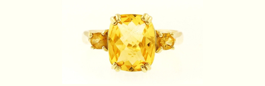 9 Carat Gold Cushion Cut Citrine Solitaire Ring