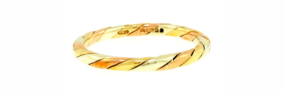 Vintage 9ct Yellow, White & Rose Gold Braided Fancy Band