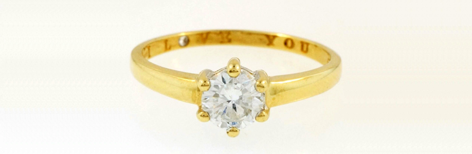 9Carat Yellow Gold Simulated Diamond Solitaire Ring