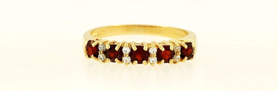 9Carat Yellow Gold Simulated Garnet & Diamond Eternity Ring (Size M) 3mm Widest