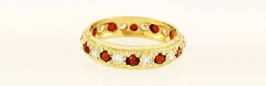 9Ct Yellow Gold Garnet & Simulated Diamond Full Eternity Ring (Size N 1/2) 5mm