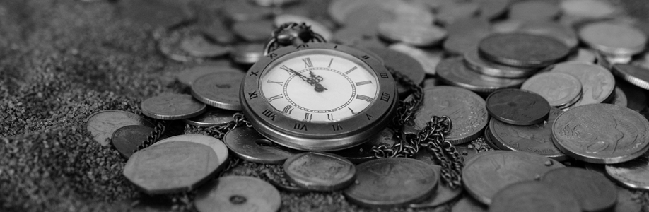 Black and White Image of an Old Vintage Pocket Watch