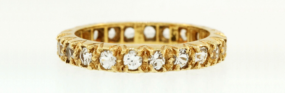 Vintage 9ct Yellow Gold Spinel Full Eternity Wedding Ring