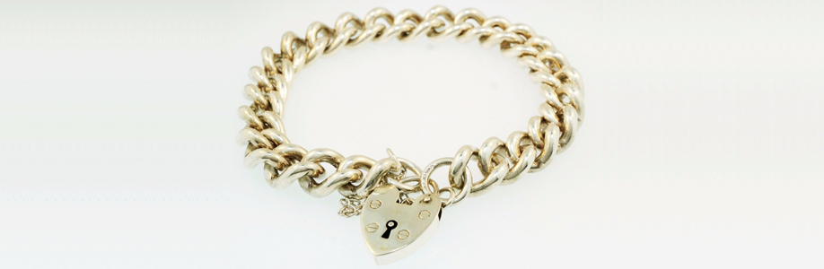 Vintage Sterling Silver Rounded Curb Link with Heart Padlock