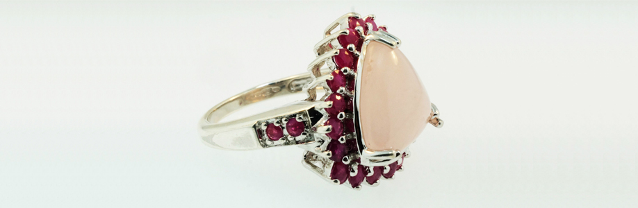 9ct White Gold Ruby and Rose Quartz Cluster Ring