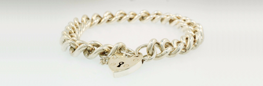 Vintage Sterling Silver Curb Chain with Padlock