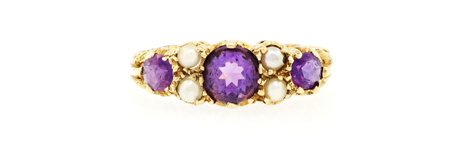 Vintage Three Stone Amethyst and Pearl Ring