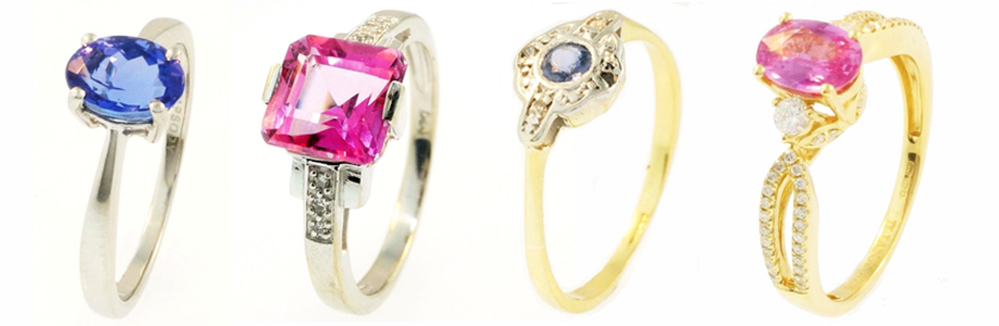 Row of Gemstone Rings, Tanzanite, Pink Topaz and Sapphire