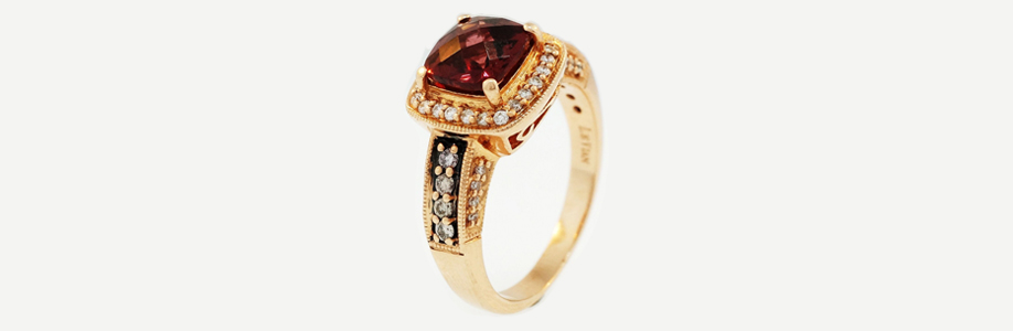 Rose Gold Garnet and Diamond Halo Cluster Ring