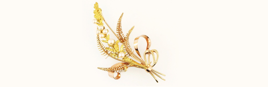 Vintage 9ct Yellow and Rose Gold Pearl Brooch