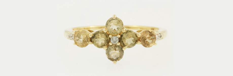 9Carat Yellow Gold Alexandrite And Diamond Cluster Ring