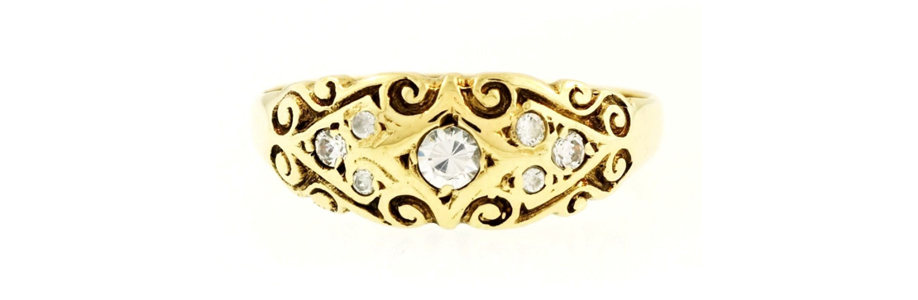 Vintage 9Carat Yellow Gold Simulated Diamond Celtic Cluster Ring