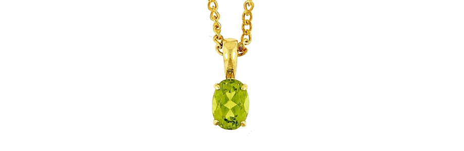 9Ct Yellow Gold Peridot Solitaire Pendant Curb Chain