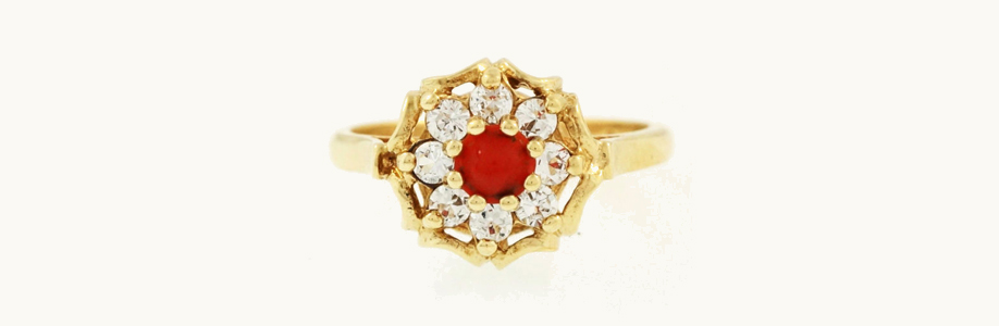 Vintage 9Carat Yellow Gold, Diamond and Coral Cluster Ring