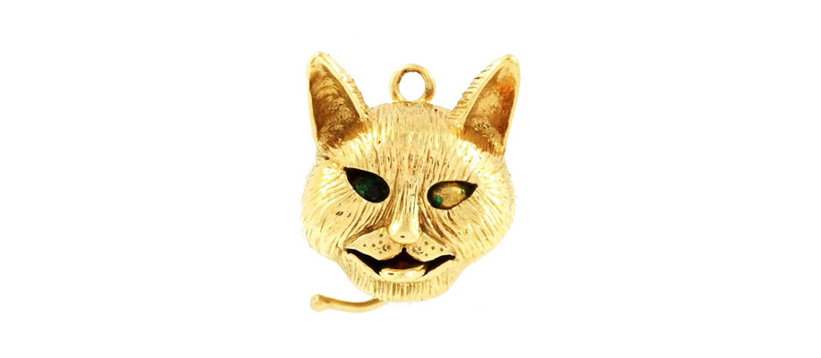 9Carat Yellow Gold Movable Cat Charm with Enamel Eyes