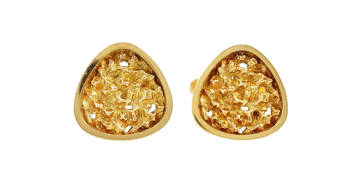 VINTAGE 9CT YELLOW GOLD NUGGET EFFECT CUFFLINKS
