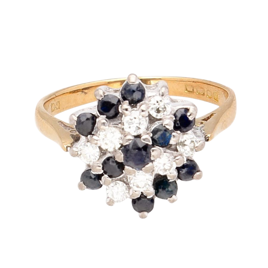 Vintage 18ct Yellow Gold Sapphire Amp Diamond Cluster Ring
