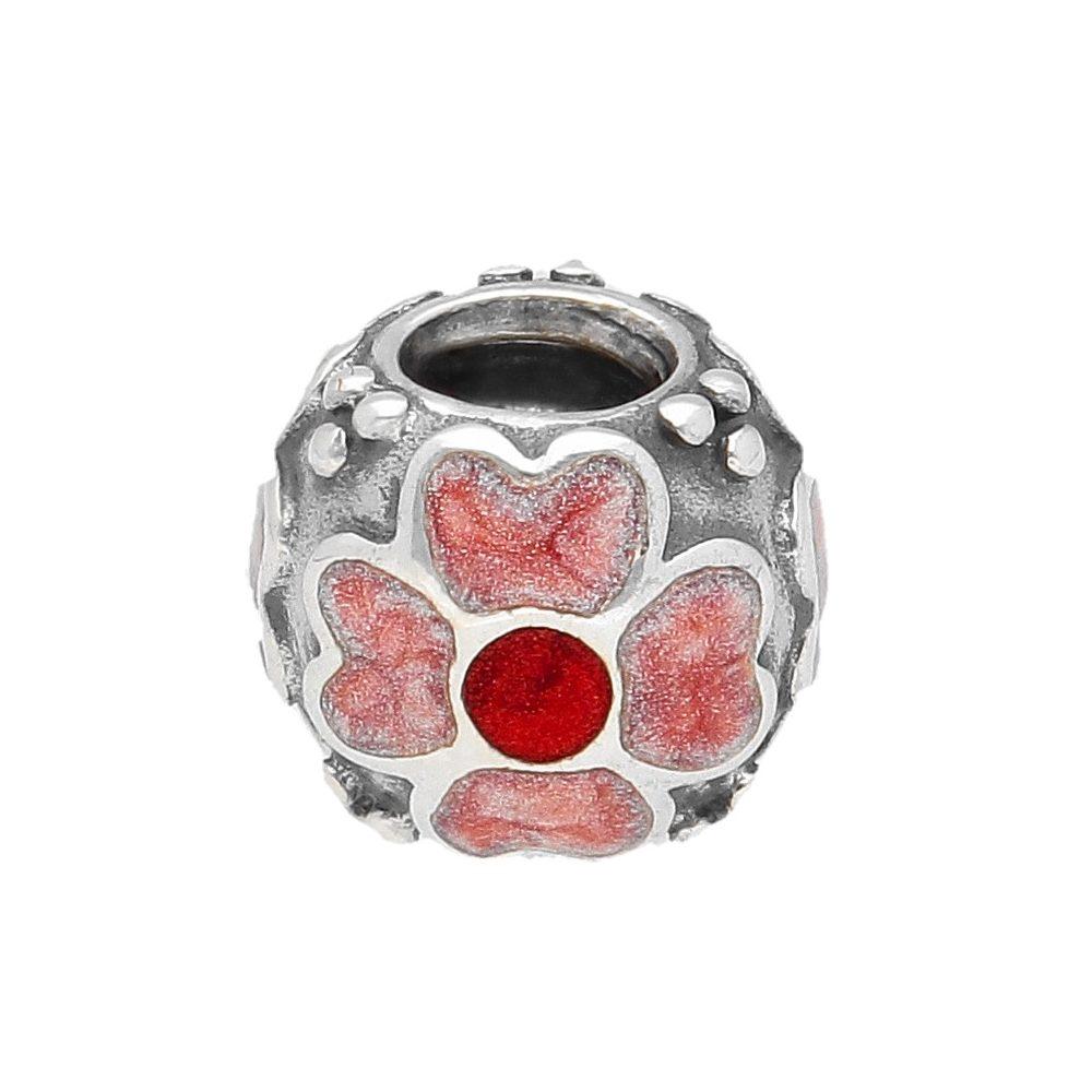 Beautiful Sterling silver 925 sterling Sterling Silver Rhodium-platedPink Enamel Flower Charm