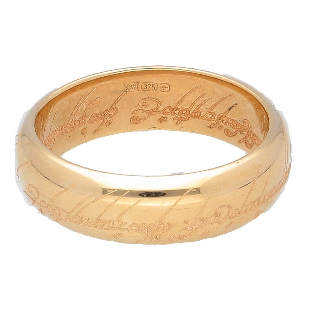Lord Of The Rings Wedding Band.9carat Yellow Gold Lord Of The Rings Inscribed Wedding Band Size