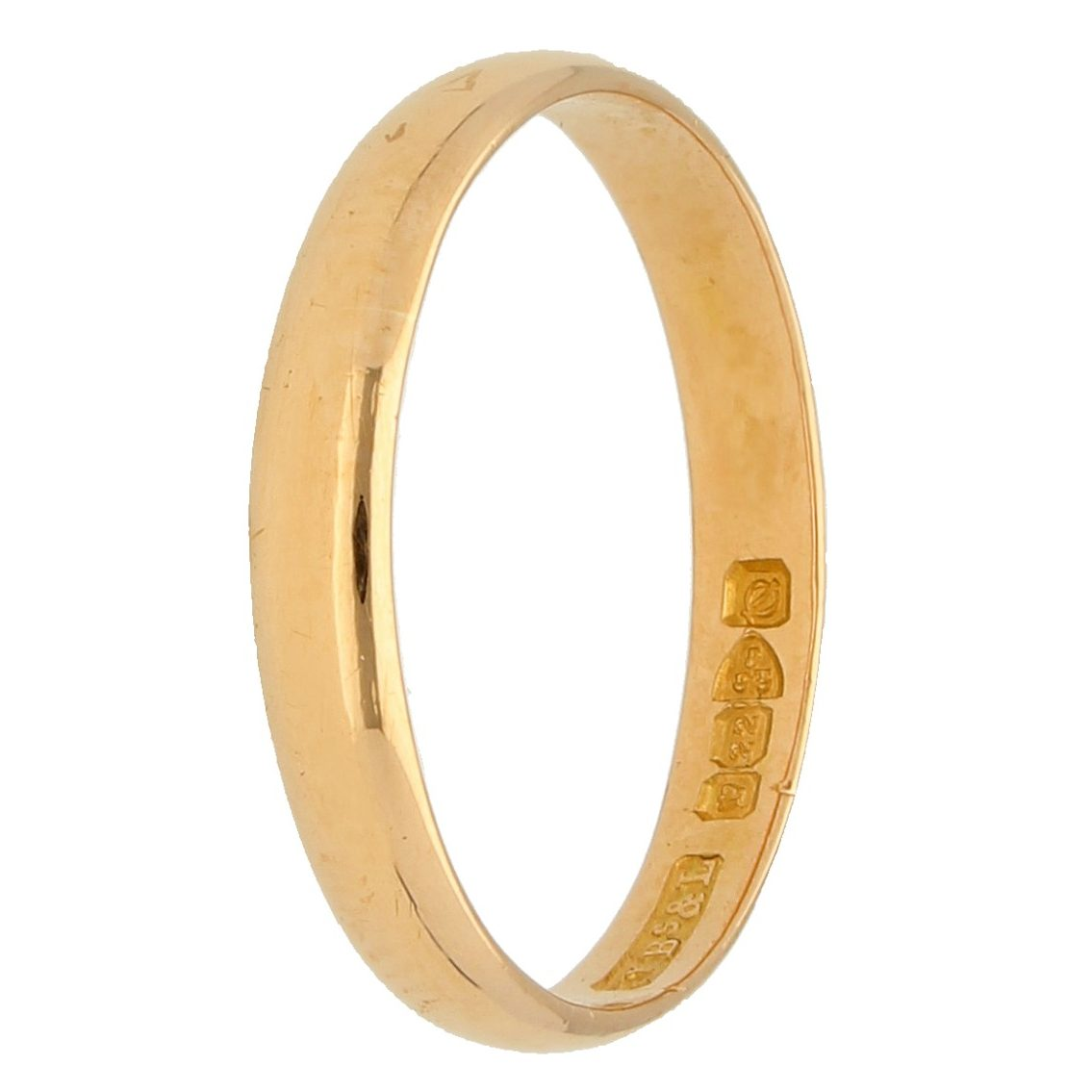 3mm 22ct Yellow Gold Plated Sterling Silver D Shaped Wedding Ring Band