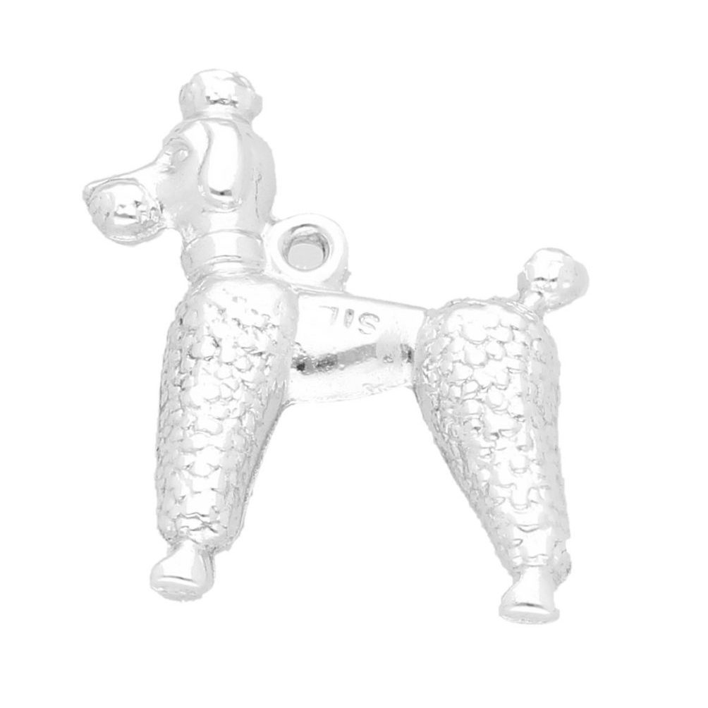 Sterling Silver Poodle Charm 18x22mm Jollys Jewellers