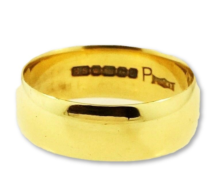 Carat Gold D Shape Wedding Ring Size W