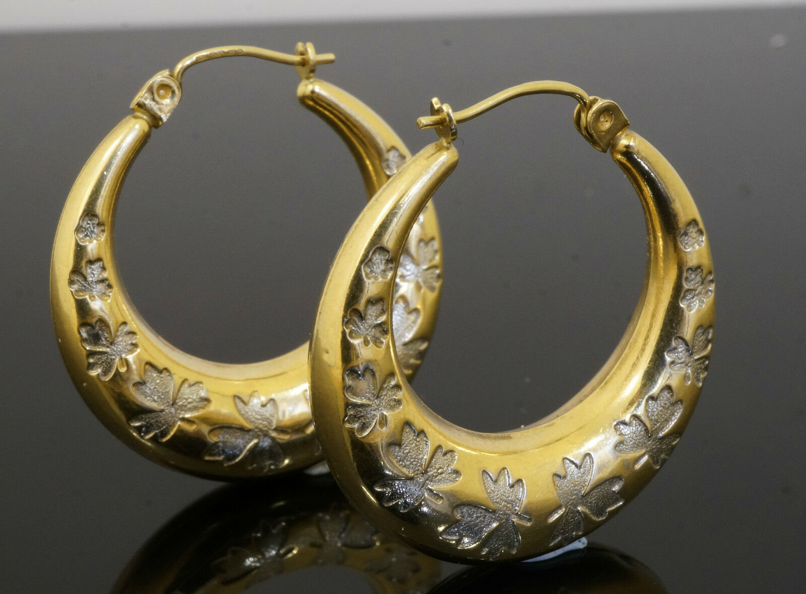 9carat Yellow And White Gold Round Leaf Patterned Hoop