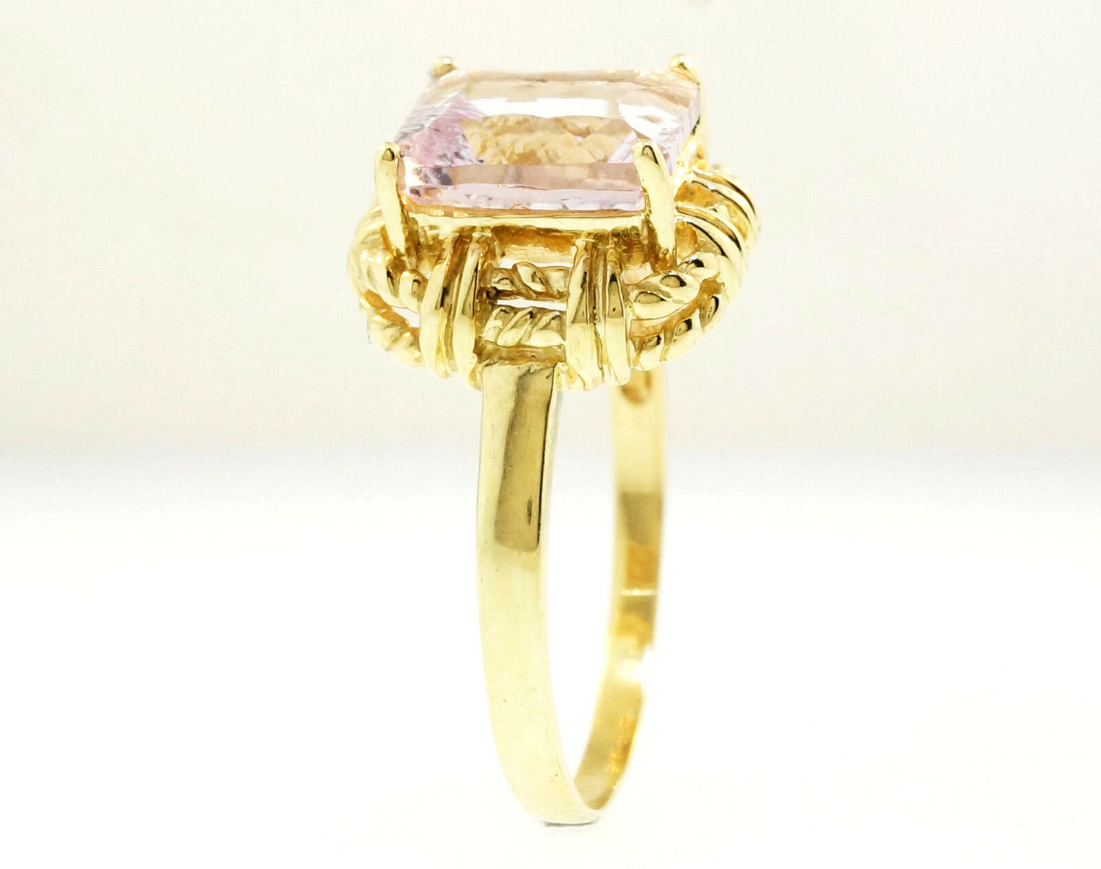9ct Yellow Gold 2 30ct Emerald Cut Amethyst Solitaire Ring