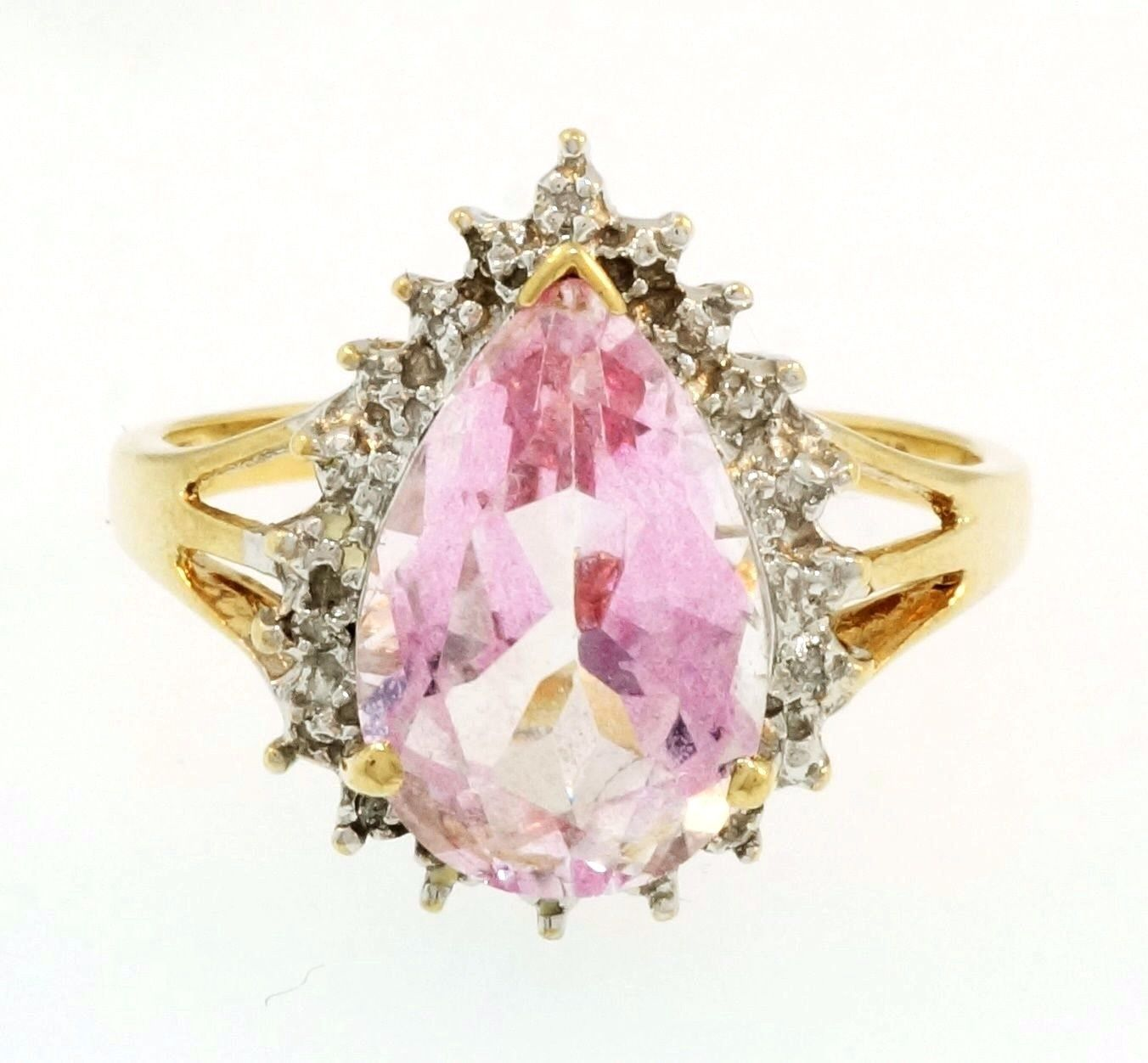 9Ct Yellow Gold Pear Morganite & Diamond Halo Cluster Ring (Size P ...
