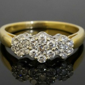 18Carat-Yellow-Gold-Triple-Diamond-050ct-Daisy-Cluster-Ring-Size-P-272305100260